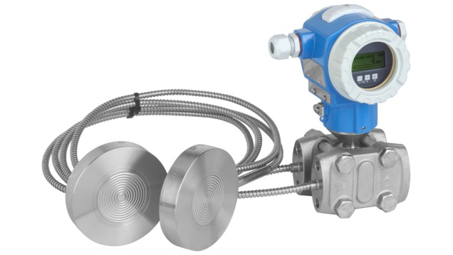 Differential pressure transmitter with two diaphragm seals for differential pressure and level